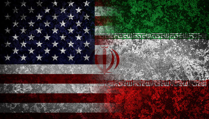 Flags of Iran and USA. Diplomatical concept.