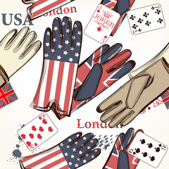 Fashion seamless pattern with cards and gloves decorated by Brit