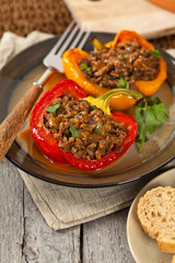 Stuffed peppers with meat. Selective focus.