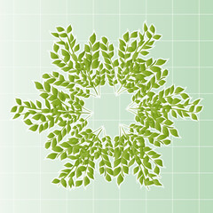 a wreath of leaves with cells