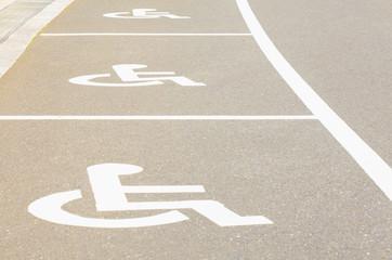 Outdoor empty space car parking for handicap person..