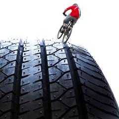 biker on the tire