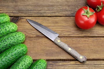 Ingredients of Fresh Vegetable Salad, Kitchen Knife And Cutting