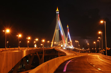 Industrial Road Bridge night time in Bangkok, Thailand