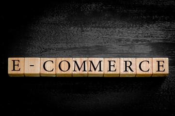 Word E-Commerce isolated on black background