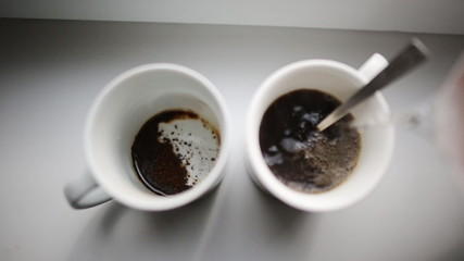 instant coffee in cups pour boiling water