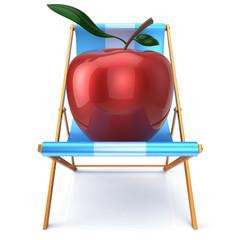 Apple sitting in beach chair summer vegetarion nutrition