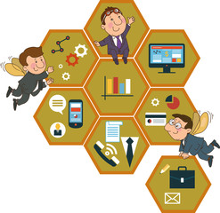 background honeycomb structure with interface icons
