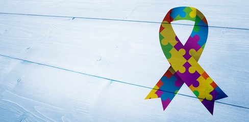 Composite image of autism awareness ribbon