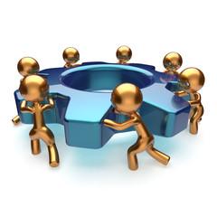 Teamwork business process workers start turning gear