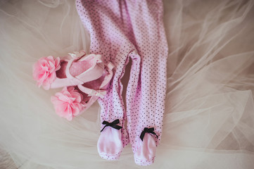 Pink booties with flowers with pink sliders, decor, lifestyle