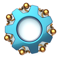 Teamwork business workforce process mans turning gear together