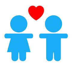Icono infancia azul con corazon