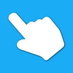 Icono mano señalando azul con sombra