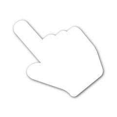 Icono mano señalando blanco con sombra