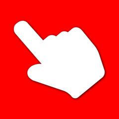 Icono mano señalando rojo con sombra