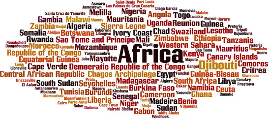 Countries in Africa word cloud concept. Vector illustration