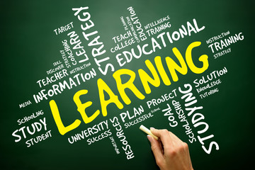 LEARNING word cloud, education concept