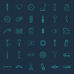 Set of thirty six car parts icons