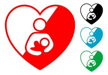 Pictograma corazon simbolo lactancia