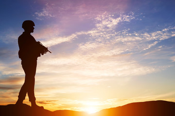 Armed soldier with rifle. Guard, army, military, war.