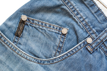 Part of denim with pockets on white background