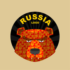 bear  logo of Russia. Traditional Russian ornament khokhloma.