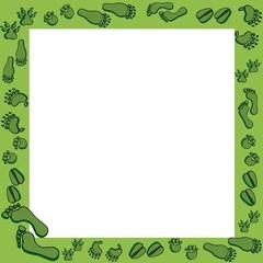 Footprints in green frame