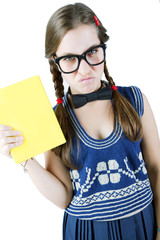 Teenage student girl wearing glasses with book isolated on white