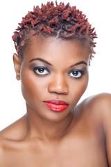 Black beauty with short spiky hair