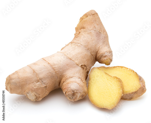 Foto op Canvas Kruiden Fresh ginger root or rhizome isolated on white background cutout