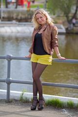 Blonde woman in mini skirt