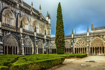 Internal yard of Batalha Dominican medieval monastery, Portugal