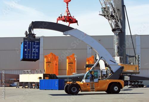 Leinwandbild Motiv Container loader - reach stacker in the test area of Liebherr cr