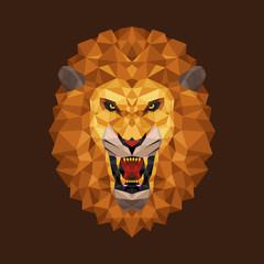 Lion head polygon geometric, Vector illustration