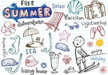 Summer doodles, vector illustrations