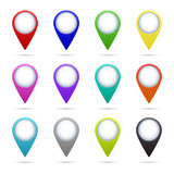 Map pointer icons set - 81360191