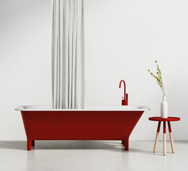 Contemporary red bathtub with a stool