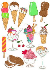 Set of isolated colorful ice cream icons.