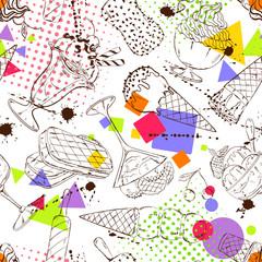 Sketch seamless pattern of ice cream