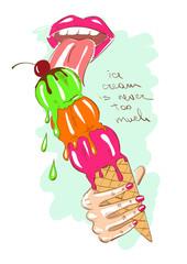 Girl eating a big ice cream