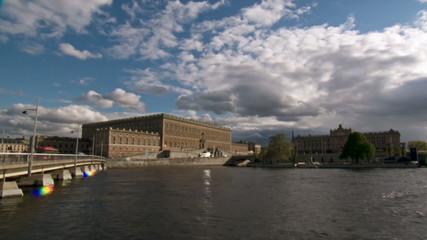 Sweden Stockholm city river sunset time lapse