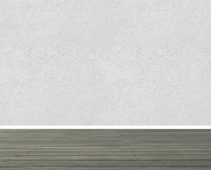 Textured white wall with wooden floor panels