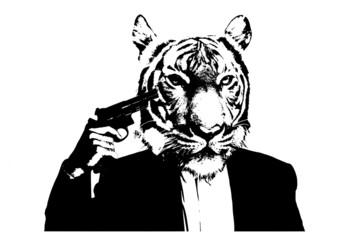 suicide man with tiger head