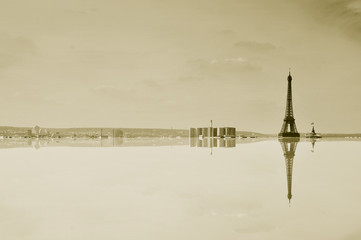 Paris, France with reflection, in sepia toning