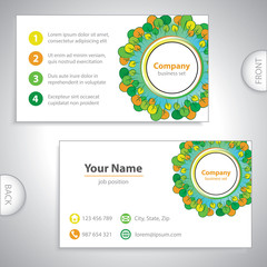 business card - Abstract woods and gardens - green and orange