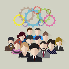 business team concept of development of technological community