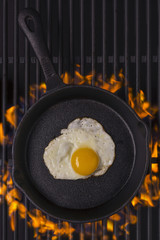 Fried egg in cast iron frying pan