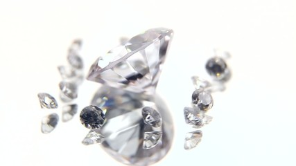 Diamonds and jewels on a white background