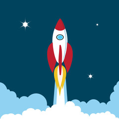 rocket soars into the sky color illustration